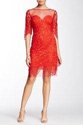 Soieblu Lace Yoke And Mesh Party Dress Red