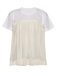Chloe Ruffled Panel Jersey Top White