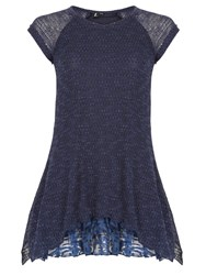 Izabel London Knit Tunic Top With Frilled Under Layer Navy