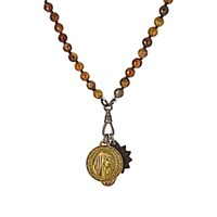 Miracle Icons Men's Garnet Bead And Triple Pendant Necklace Green