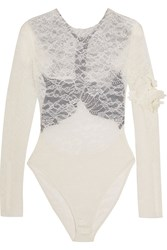 Preen Varlese Appliqued Lace And Stretch Crepe Bodysuit Ivory