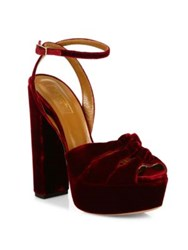 Aquazzura Mira Velvet Ankle Strap Platform Sandals Ruby Red Black