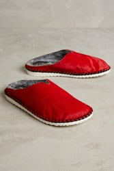 Anthropologie All Black Shearling Lined Sneaker Slides Red