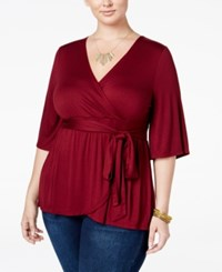 American Rag Trendy Plus Size Faux Wrap Top Only At Macy's Zinfindel