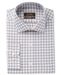 Tasso Elba Men's Classic Fit Non Iron Tan Herringbone Gingham Dress Shirt Only At Macy's