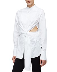 3.1 Phillip Lim Long Sleeve Cotton Side Slit Blouse White Women's