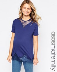 Asos Maternity Lace Mix Longline T Shirt Navy