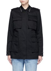 Valentino '03. Rockstud Untitled' Cotton Gabardine Field Jacket Black