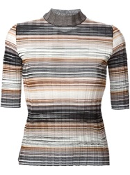 Missoni Striped High Collar Sweater Black