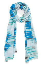 Women's Bindya 'Painted Stripe Dig' Print Scarf Blue