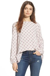 Women's Ace Delivery Print Gathered Back Top Ivory Ground Circles