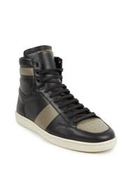 Saint Laurent Colorblock Leather High Top Sneakers