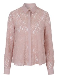 Jane Norman Long Sleeve Lace Blouse Blush