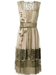 Alberta Ferretti Layered Floral Embroidery Dress Green