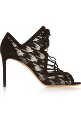 Nicholas Kirkwood Ava Houndstooth Embroidered Mesh And Suede Sandals Black