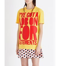 House Of Holland Vetements Cotton Jersey T Shirt Yellow