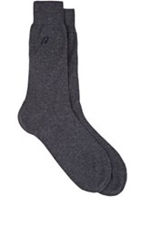 Brioni Men's Ribbed Cotton Trouser Socks Grey