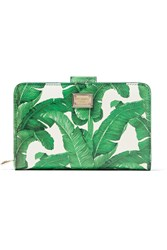 Dolce And Gabbana Printed Textured Leather Wallet Green