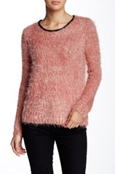 Lavand Faux Leather Trim Fuzzy Sweater Pink