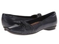 Clarks Candra Gleam Navy Leather Women's Slip On Dress Shoes Blue