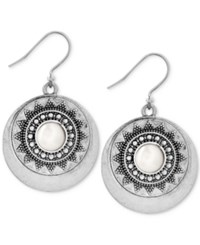 Lucky Brand Silver Tone Imitation Pearl Star Disc Drop Earrings