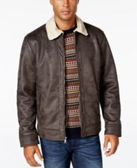 Nautica Men's Big And Tall Jacket With Faux Shearling Collar Dark Brown