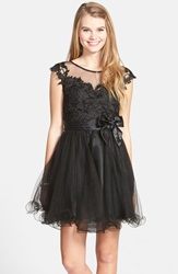 Sean Collection Lace Bodice Fit And Flare Dress Black