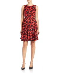 Taylor Printed Fit And Flare Dress Crimson Black