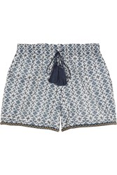 Talitha Bead Trimmed Printed Cotton And Silk Blend Shorts Blue