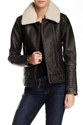 Bagatelle Fleece Trim Faux Leather Moto Jacket Black