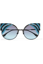 Fendi Cat Eye Metal Sunglasses Blue
