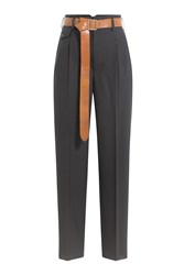 Golden Goose Wool Pants With Leather Belt Grey