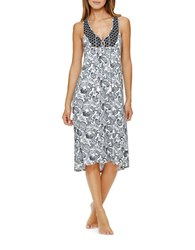 Ellen Tracy Sweet On Soho Nightgown White Black