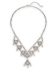 Punch Crystal Filigree Necklace Silver