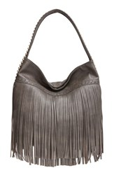 Big Buddha 'Jgiada' Fringe Faux Leather Ball Hobo Grey Charcoal