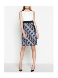 Tara Jarmon Embroidered Lace Shift Dress White Navy