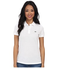 Lacoste Short Sleeve Classic Fit Pique Polo Shirt White Women's Short Sleeve Knit