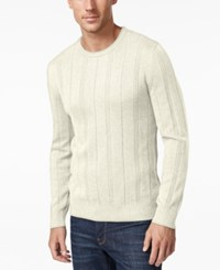 John Ashford Men's Big And Tall Crew Neck Striped Texture Sweater Only At Macy's Ivory Cloud