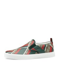 Gucci Dublin Gg Chevron Canvas Slip On Sneaker Green Red Beige