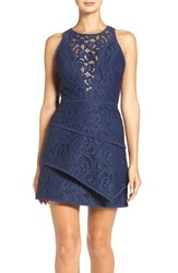 Bcbgmaxazria Women's 'Hannah' Tiered Lace Fit And Flare Dress Dark Navy