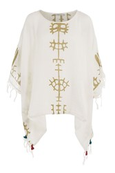 Mes Demoiselles Cotton Poncho With Tassels White