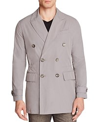 Hardy Amies Double Breasted Peak Nylon Slim Fit Coat Grey