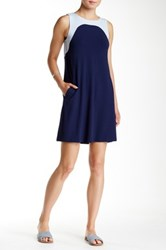 Lilla P Stretch Jersey Colorblock Sleeveless Dress Blue