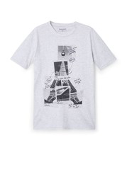 Mango Pola Printed Cotton T Shirt Mid Grey
