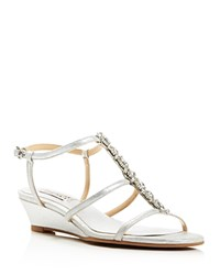 Badgley Mischka Carley Ii T Strap Low Wedge Sandals Silver