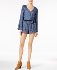 Sanctuary Naomi Printed Long Sleeve Romper Indigo