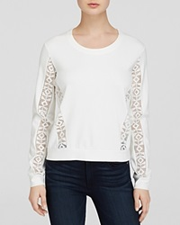 Generation Love Sweatshirt Tribal Lace Trim Long Sleeve White