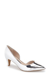 French Connection 'Kandy' Half D'orsay Pointy Toe Pump Women Silver Leather