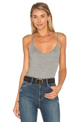 Heather Rib Double V Cami Gray