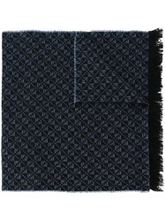 Canali Frayed Woven Scarf Blue